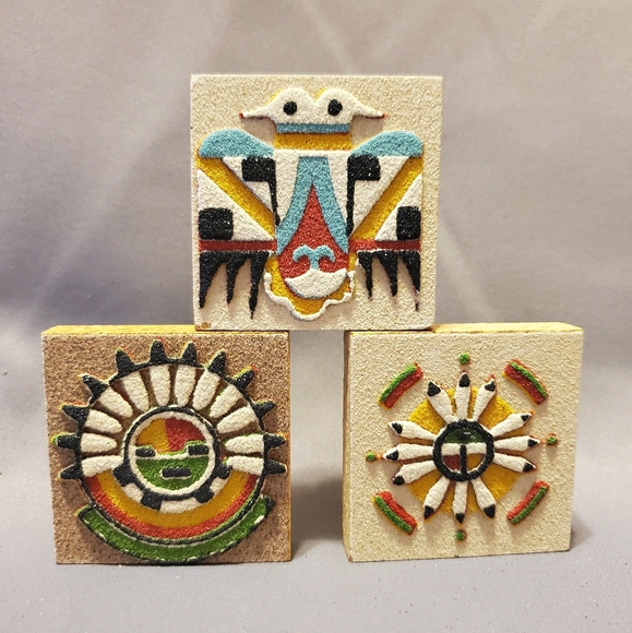 Set of Three Magnets, Vintage Navajo Sand Art